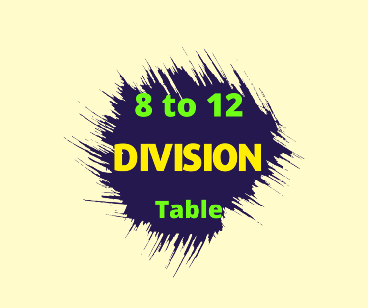 division table 8 to 12