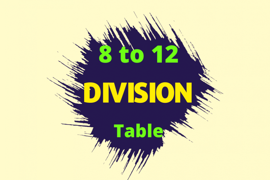 division table 8 to 12.