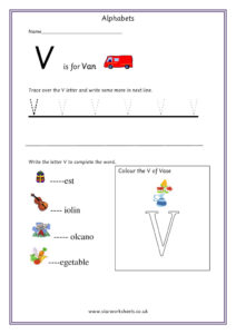 Practice Capital Letter V worksheet pdf