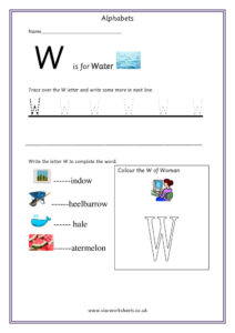 Practice Capital Letter W worksheet pdf