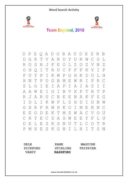england players 2018 word search pdf
